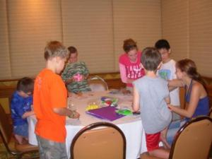 Making Salvation bracelets and necklaces - a big hit!