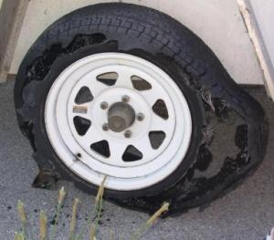 The blown tire!